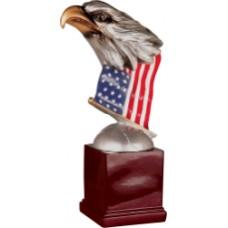 EGL78  Eagle Head and Flag on Resin Base